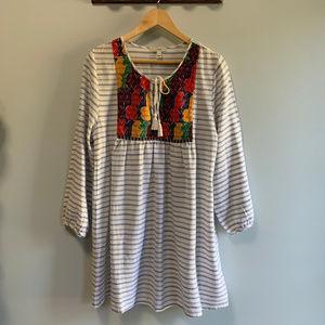 J.Crew Gauzy Embroidered Stripe Tunic Dress M